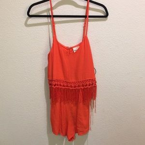 NWT LF Orange Fringe Dweller Romper S